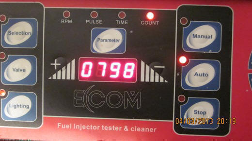 Control panel of ECCOM fuel injector cleaning and flow testing bench unit.
